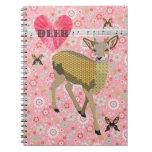 Cuaderno floral de los ciervos color de rosa de or