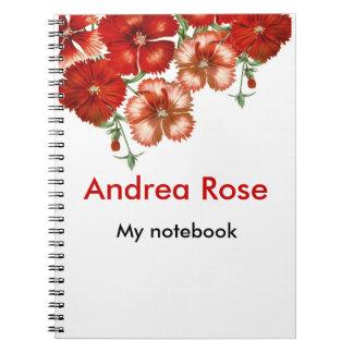 Cuaderno floral del clavel rojo