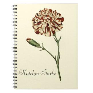 Cuaderno floral del clavel rosado