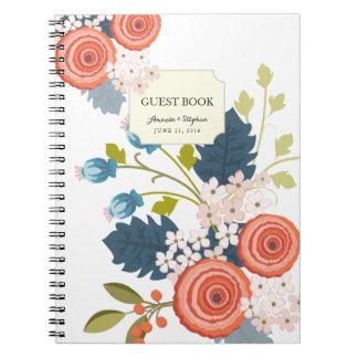 Cuaderno floral del libro de visitas del boda del