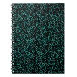 Cuaderno floral del negro del trullo de los remoli