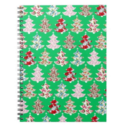 Cuaderno floral del vintage femenino del árbol de