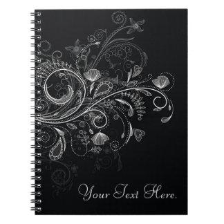 Cuaderno floral negro y blanco