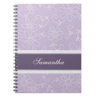 Cuaderno floral púrpura y blanco conocido de encar