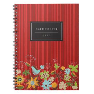 Cuaderno floral rojo caprichoso del personalizado