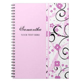 Cuaderno floral rosado conocido de encargo