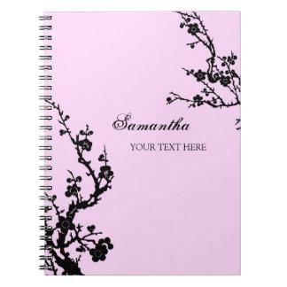 Cuaderno floral rosado y negro conocido de encargo