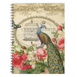 Cuaderno francés del pavo real del vintage