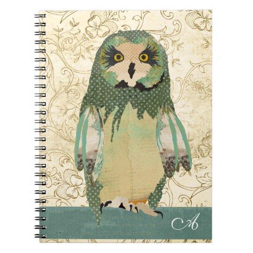 Cuaderno gitano del monograma del búho de Polkadot