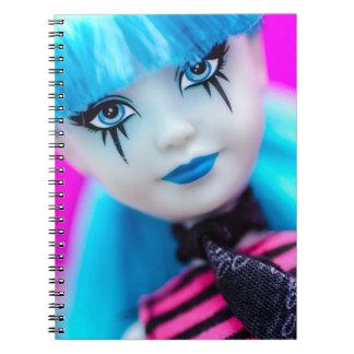Cuaderno gótico de la muñeca de la moda del punk r