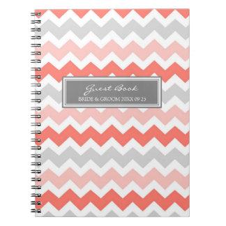 Cuaderno gris coralino de Chevron del libro de vis