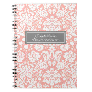 Cuaderno gris coralino del damasco del libro de vi
