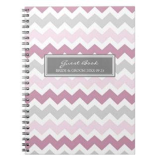 Cuaderno gris de Chevron del rosa del libro de vis