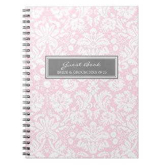 Cuaderno gris del damasco del rosa del libro de vi