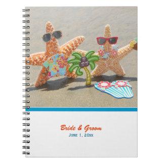 Cuaderno hawaiano del boda de los pares de las