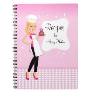 Cuaderno hermoso de Jounal de la receta del chica