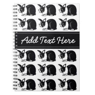 Cuaderno holandés blanco y negro del personalizado