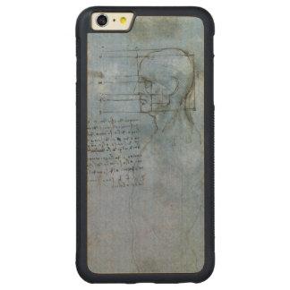 Cuaderno humano de la anatomía de da Vinci Funda De Arce Bumper Carved® Para iPhone 6 Plus
