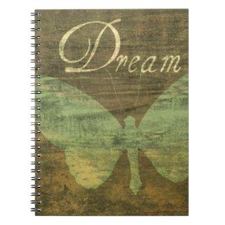 Cuaderno ideal de bronce del diario de la mariposa