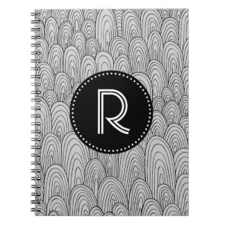 Cuaderno inconsútil gris negro del modelo del