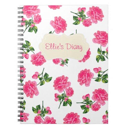 Cuaderno inglés rosado personalizado del blanco de