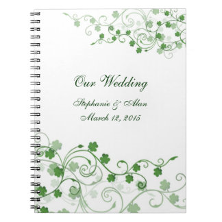 Cuaderno irlandés del boda del trébol