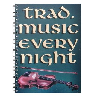 Cuaderno irlandés tradicional de la música