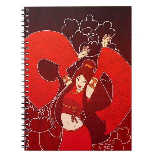 Cuaderno japonés del arte pop del bailarín rojo de