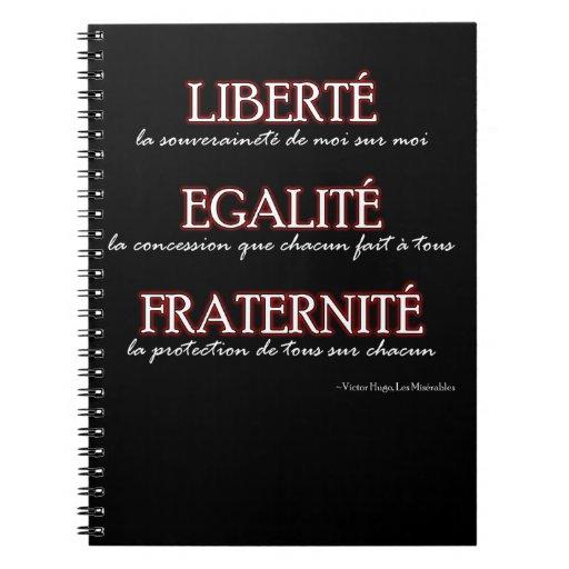 Cuaderno: Liberté, Egalité, Fraternité Cuadernos