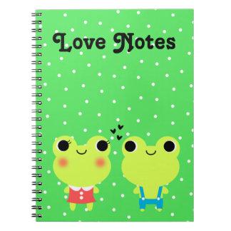 Cuaderno lindo de los pares de la rana del dibujo