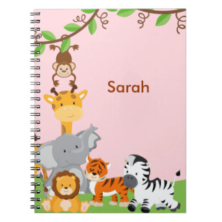 Cuaderno lindo rosado del animal del bebé de la se