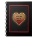 Cuaderno llameante del corazón de Customizeable