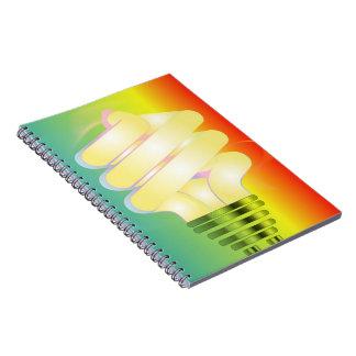 Cuaderno luminoso de la bombilla
