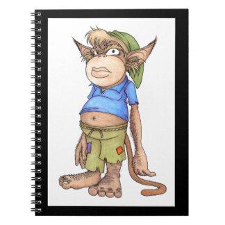 Cuaderno malvado del gnomo del mono Dedo del pie-Q