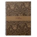 cuaderno marrón personalizado del damasco