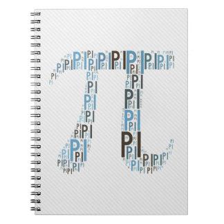 Cuaderno mecanografiado pi del friki del símbolo