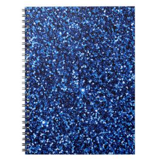 Cuaderno metálico azul del brillo