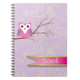 cuaderno modelado nube femenina púrpura del búho