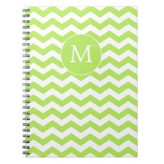 Cuaderno moderno de Chevron de la verde lima del m