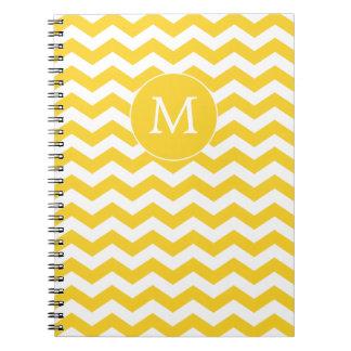 Cuaderno moderno de Chevron del amarillo del monog
