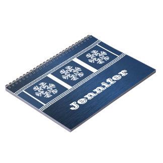 Cuaderno moderno de los copos de nieve, azul