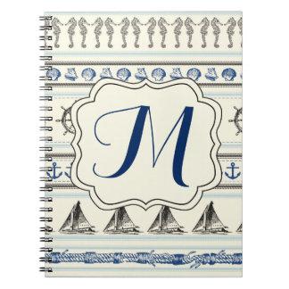 Cuaderno náutico del monograma de la cuerda del