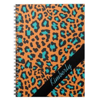 Cuaderno negro anaranjado de la aguamarina del