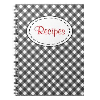 Cuaderno negro de la receta de la guinga