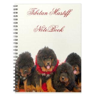 Cuaderno negro hermoso del mastín tibetano