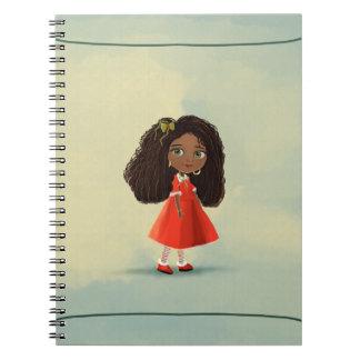 cuaderno negro lindo de Mindy del chica del dibujo