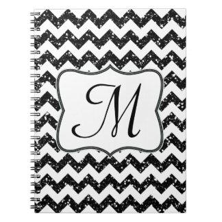 Cuaderno negro moderno de la inicial del monograma