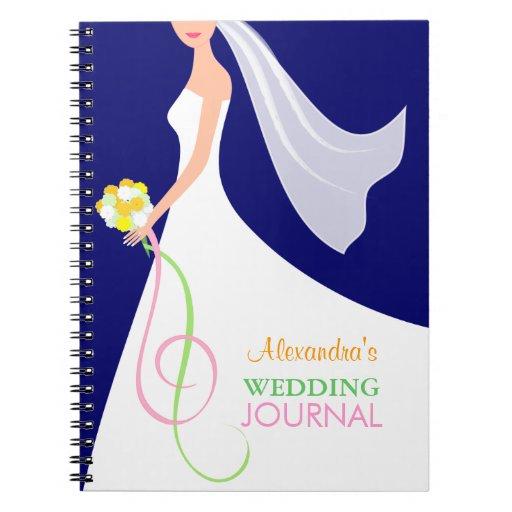 Cuaderno nupcial contemporáneo del diario del boda