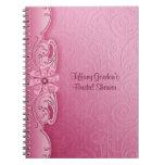 Cuaderno nupcial de la ducha del damasco rosado