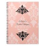 Cuaderno nupcial de la ducha del negro y del rosa